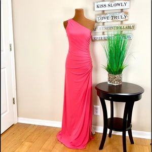 CACHE | Coral One Shoulder Evening Gown